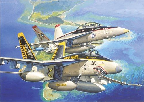 "Dragon Model Kit letadlo 4618 - F/A-18E VFA-27 ""ROYAL MACES"" & F/A-18F VFA-41 ""BLACK ACES"" (1:144)"